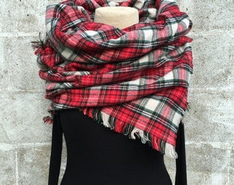 Plaid Blanket Scarf with Fringed Edges- Cotton Flannel- Handmade