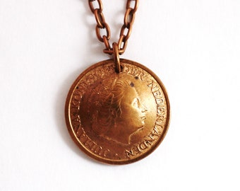 Domed Coin Pendant Vintage Necklace Netherlands Netherlanden Nederland 1971 5 Cent Repurposed Eco Friendly Jewelry by Hendywood
