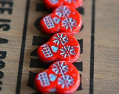 NEW! Haunted Faces - Czech Glass Beads, Opaque Coral Red, Turquoise Wash, Sugar Skulls 20x17mm - Pc 2