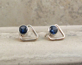 Lab Sapphire Stud Earrings - Small Triangle Earrings - Geometric Mixed Metal Studs - September Birthstone - Silver and Bronze