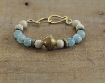Rustic Brass Aquamarine and River Fossil Beaded Bracelet