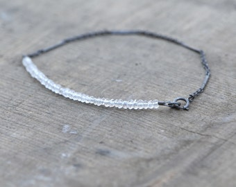 Delicate White Topaz and Oxidized Sterling Silver Chain Bracelet
