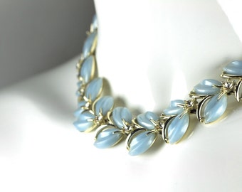 Vintage Light Blue Thermoset Collar Necklace