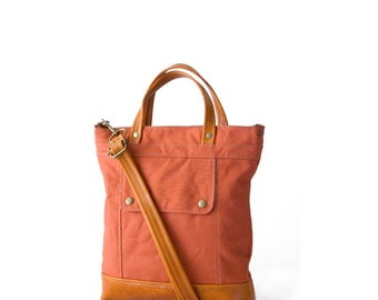 Packet Crossbody Bag in Burnt Orange canvas and Apricot leather, Crossbody Bag, Travel Bag, Zippered Bag, Jenny N Design, Ready to Ship