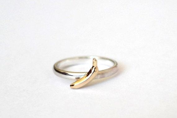 Banana Ring, Sterling Silver, 9ct Yellow Gold Banana Ring, Handmade, Food Ring, Fruit Ring, RockCakes