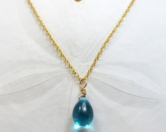 Blue Mermaid Gold Tear Necklace