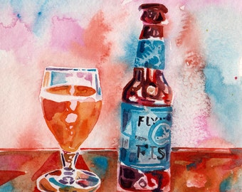 Painting of Beer - Original Watercolor Art of Flying Fish Brewery Beer - Bar Decoration by Jen Tracy - Beer Art