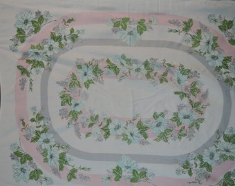 1950s Pink, Grey & Aqua Tablecloth, 52 x 64 inches, Vintage Rectangle Kitchen Tablecloth