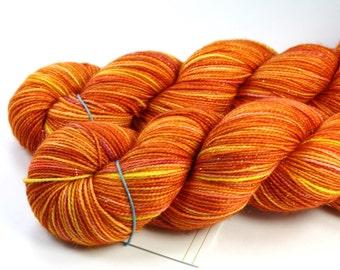 Orange You Sweet--hand dyed sock weight yarn, merino, nylon and stellina, (438yds/100gr)