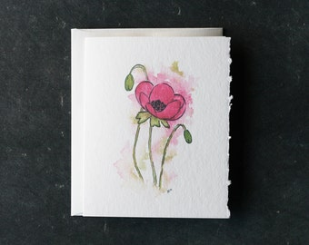 PINK POPPY Card and Envelope, Blank Interior, Post-consumer Recycled Paper, Floral, Flowers