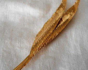 VINTAGE Designer Signed Christian Dior Germany Gold Metal Leaf Costume Jewelry Brooch