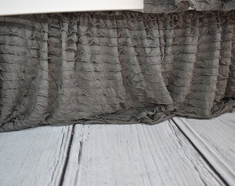 Gray Crib Skirt - Ruffle Crib Skirt - Grey Crib Skirt - Baby Bed Skirt- Long Crib Skirt - Ruffled Crib Skirt Baby Nursery Baby Room Decor