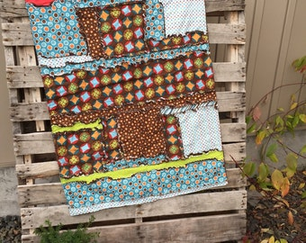 Flannel Baby Blanket Gifts for Baby Boy - Brown / Blue / Red - Boy Rag Quilts - Small Rag Quilt - Mini Crib Bedding - Ready to Ship