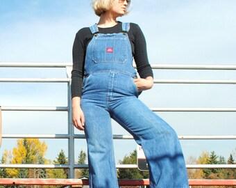 1970s bell bottom overalls 70s retro dark wash denim Big Blue dungarees size 28