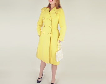 Early 70s Yellow Wool Double Breasted Coat by Originala S