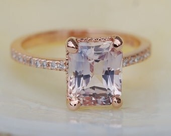 Blake Lively ring Mauve Blush Engagement Ring emerald cut 14k rose gold diamond ring 2.84ct sapphire ring