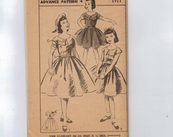 1950s Vintage Girls Sewing Pattern Advance 6964 Girls Full Skirted Party Dress Wide Collar Size 8 Breast 26 50s UNCUT No Envelope  99