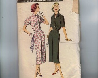 1950s Vintage Sewing Pattern Advance 8395 Misses Button Front Sheath Dress Size 14 Bust 34 50s  1962  99