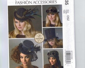 Accessories Sewing Pattern McCalls M7335 7335 Misses Steampunk Victorian Aviator Style Hats Top Hat UNCUT