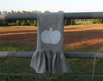 Ruffled Fall Towel Natural Linen Kitchen Towel Neutral Fal Decor Pumpkin Linen Towel Handmade French Country Farmhouse Tea Towel