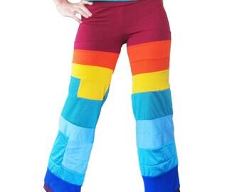 Rainbow Dance Capri Pants - Circus, Patchwork, Sprite, Fairy, Festival Capris