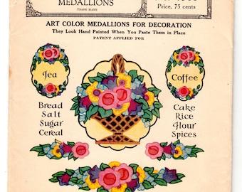 Original Vintage Pattern McCall 1566 1920's Floral Kitchen Label Color Craft Medallions