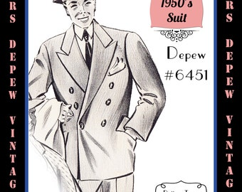 Menswear Vintage Sewing Pattern 1950's Men's Suit Jacket and Trousers in Any Size Depew 6451 - Plus Size Included -INSTANT DOWNLOAD-