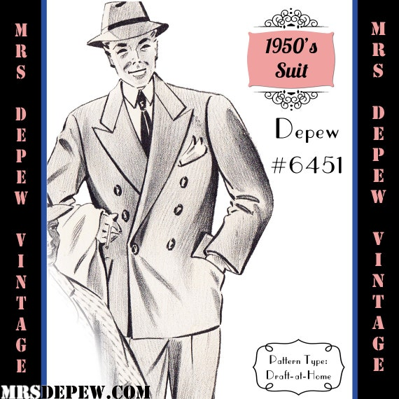 Men's Vintage Reproduction Sewing Patterns 1950s Mens Suit Jacket and Trousers in Any Size Depew 6451 - Plus Size Included -INSTANT DOWNLOAD- $9.50 AT vintagedancer.com