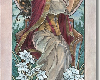 Art Print Lady of December with Saint Lucia Candle Crown Goddess White Narcissus Birthstone and Birthflower Art Nouveau Painting