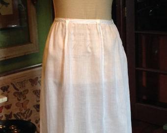 Vintage Victorian Edwardian Embroidered Eyelet Cotton Slip Skirt Cutwork Slip Petticoat White on White Petticoat Garden Party Skirt