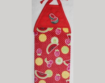 Kitchen Towel - Quilted Top with Ties - Watermelons - Plush