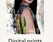 Digital Print. Asian Girl Figure Painting. Child Art Portrait Print. Mother Art Gift for Friend. Wall Art Prints