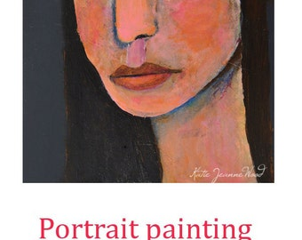 Acrylic Portrait Fauvism Painting. Mixed Media Collage Art. Woman Face. Home Wall Art Decor. Gift for Art Lover