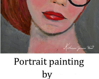Oil Portrait Painting. Original Woman Art. 6x6 Panel. Home Wall Art Decor. Gift for Her Birthday. Portrait Wall Decor. Redhead Woman in Oils