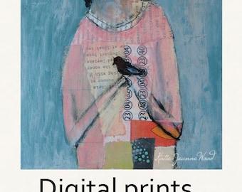 Girl & Bird Figure Painting Print. Young Girl Child's Room Print. Blackbird Print. Home Wall Art Prints