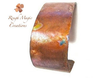 Simple Copper Cuff. 1 Inch Wide Unisex Cuff Bracelet Primitive Hammered Metal Jewelry. Rustic Cuff for Men and Women. Hand Forged Metalwork.