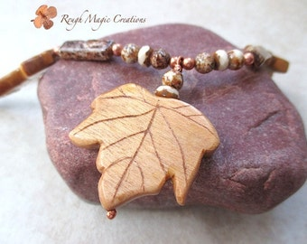 Autumn Leaves Pendant Boho Necklace, Brown & Copper, Earthy Woodland Jewelry, Eco Friendly Natural Wood, Maple Leaf, Adjustable Chain N169