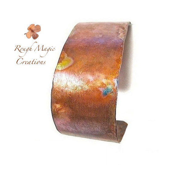 Simple Copper Cuff, 1 Inch Wide Unisex Cuff Bracelet Primitive Hammered Metal Jewelry, Rustic Cuff for Men and Women, Hand Forged Metalwork