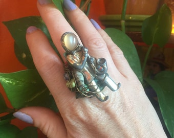 Statement Ring // Reclaimed Jewelry // Saxophone Music Musical // Unusual // Adjustable // Repurposed Junk // Sustainable // Turquoise