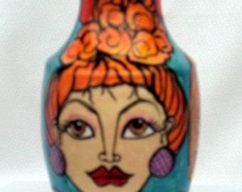 Petite Ceramic Vase Three Ladies Faces on Etsy