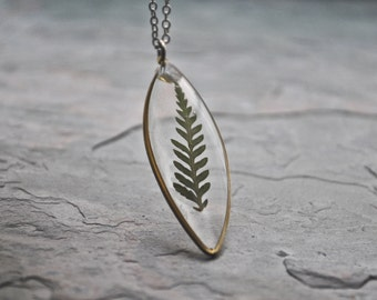 Pressed Fern Necklace Pressed Flower Jewelry Botanical