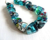 teal blue  Resin Beads,  chunky  Confetti Resin nugget  multicolored  speckled beads from indonesia  - 2 pcs  / 28 x32mm ,5A16-4