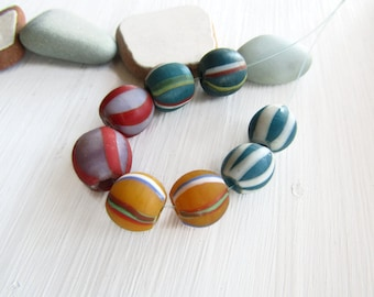 Matte striped lampork mix , round glass beads, opaque blue yellow  purple, boho ethnic style Indonesia 9 to 12  mm ( 8 beads ) 6bb8-5