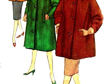 1960s Coat Pattern Jacket Topper Wide Collar Vintage Sewing Simplicity Uncut Women's Misses Size 14 Bust 34 Inches