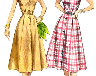 1950s Dress Pattern Shaped Neckline Simplicity Vintage Sewing Simple Center Button Uncut Women's Misses Size 20 Bust 38 Inches