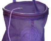 Dafi Purple Yarn Case, Yarn Storage Basket, Knitting Yarn Round Plastic Bag for On-the-go-knitter and Traveling - size: small - for 1 skein