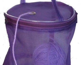 SALE! Dafi Purple Yarn Case, Yarn Storage Basket, Knitting Yarn Round Plastic Bag for On-the-go-knitter and Traveling - small - for 1 skein