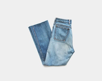 SALE - 1970's Distressed Blue High Waisted Cut Off Jeans