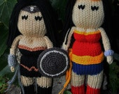 Wonder Woman- DC Comics- hand knit 10 inch tall-soft stuffed toy doll