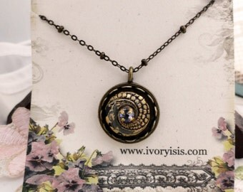 1920s Art Deco Button Necklace with Swarovski Crystal Center